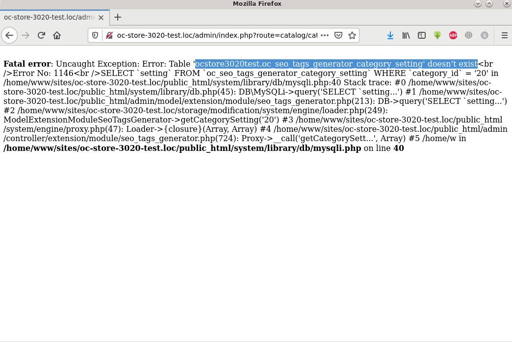 Ошибка: oc_seo_tags_generator_category_setting doesn't exist